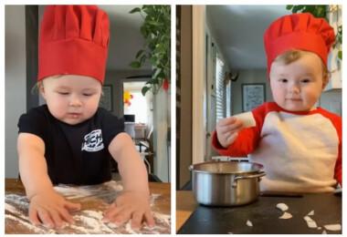 Elképesztő, mit művel ez az 1 éves kisfiú a konyhában, pedig még járni is alig tud