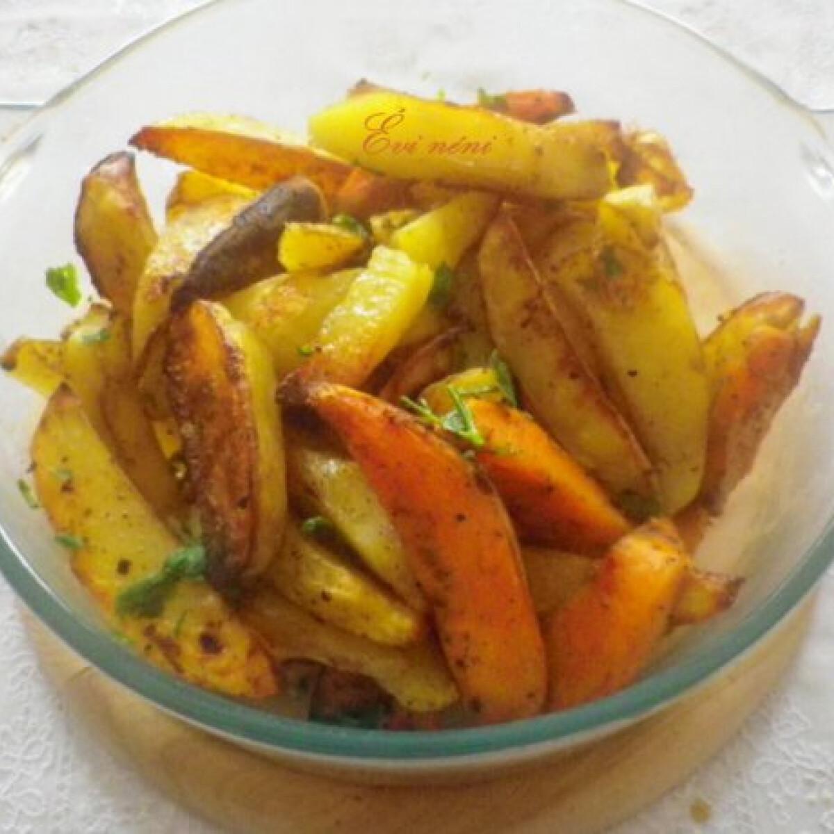 Ezen a képen: Indiai fűszerezésű sütőben sült krumpli