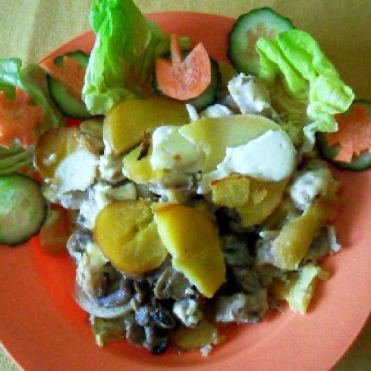 Ezen a képen: Húsos-gombás rakott krumpli