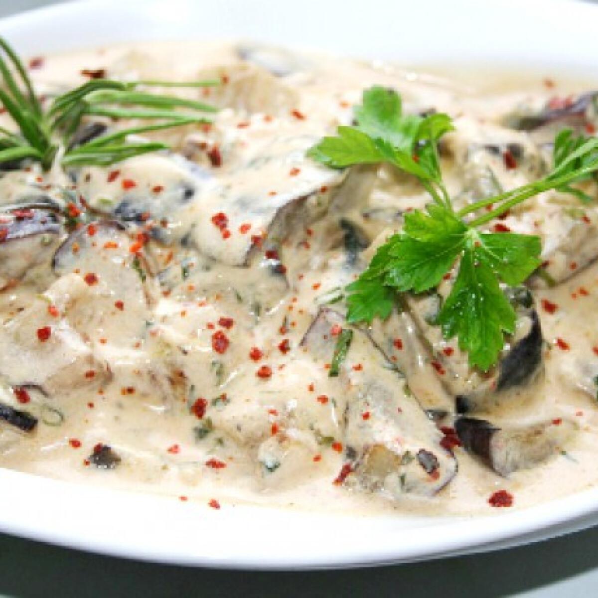 Ezen a képen: Joghurtos-zöldfűszeres sült padlizsánsaláta