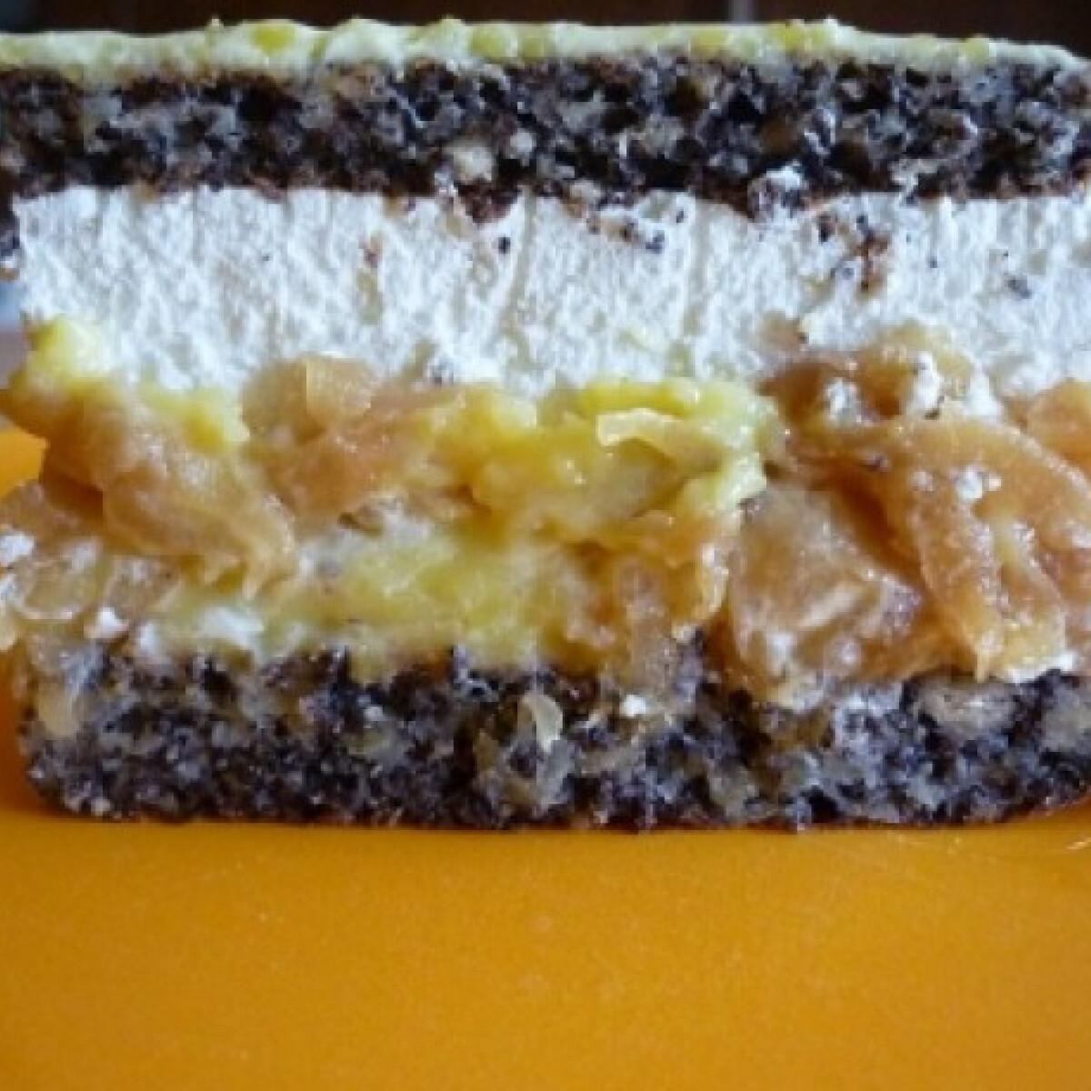 Ezen a képen: Reszelt almás-mákos-tejszínes szelet