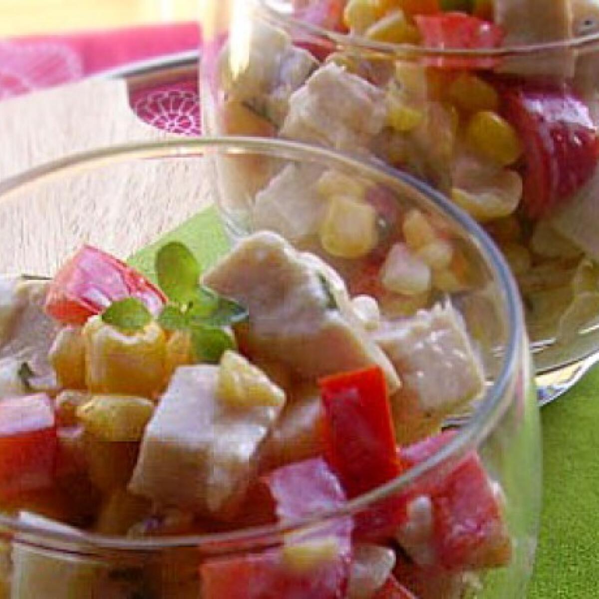 Ezen a képen: Kukoricás-csirkés saláta joghurtos-zöldfűszeres öntettel
