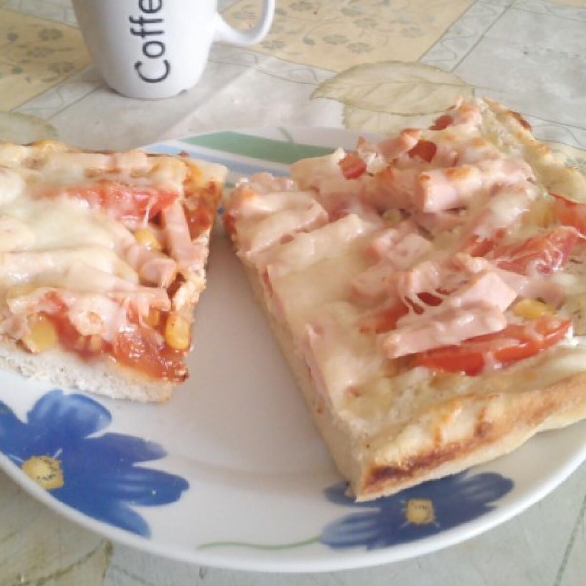 Ezen a képen: Pizza kétféle feltéttel