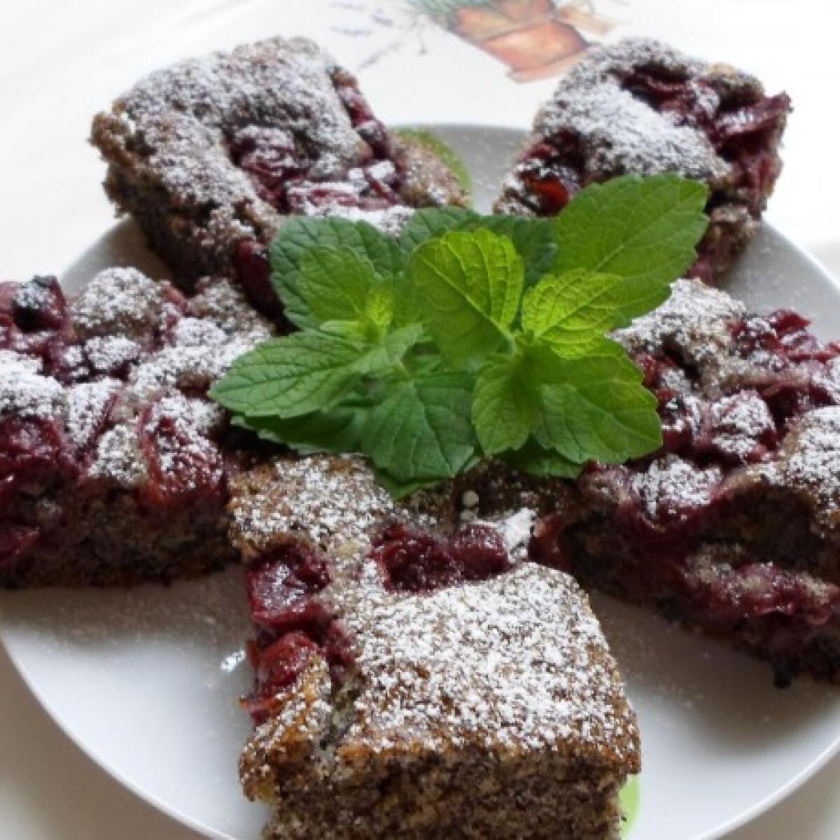 Tökös-mákos-meggyes süti