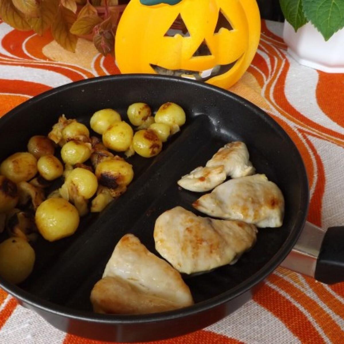 Ezen a képen: Natúr csirkemell almás sült burgonyával