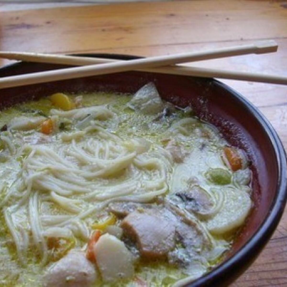 Ezen a képen: Thai curry-s zöldségleves csirkehússal