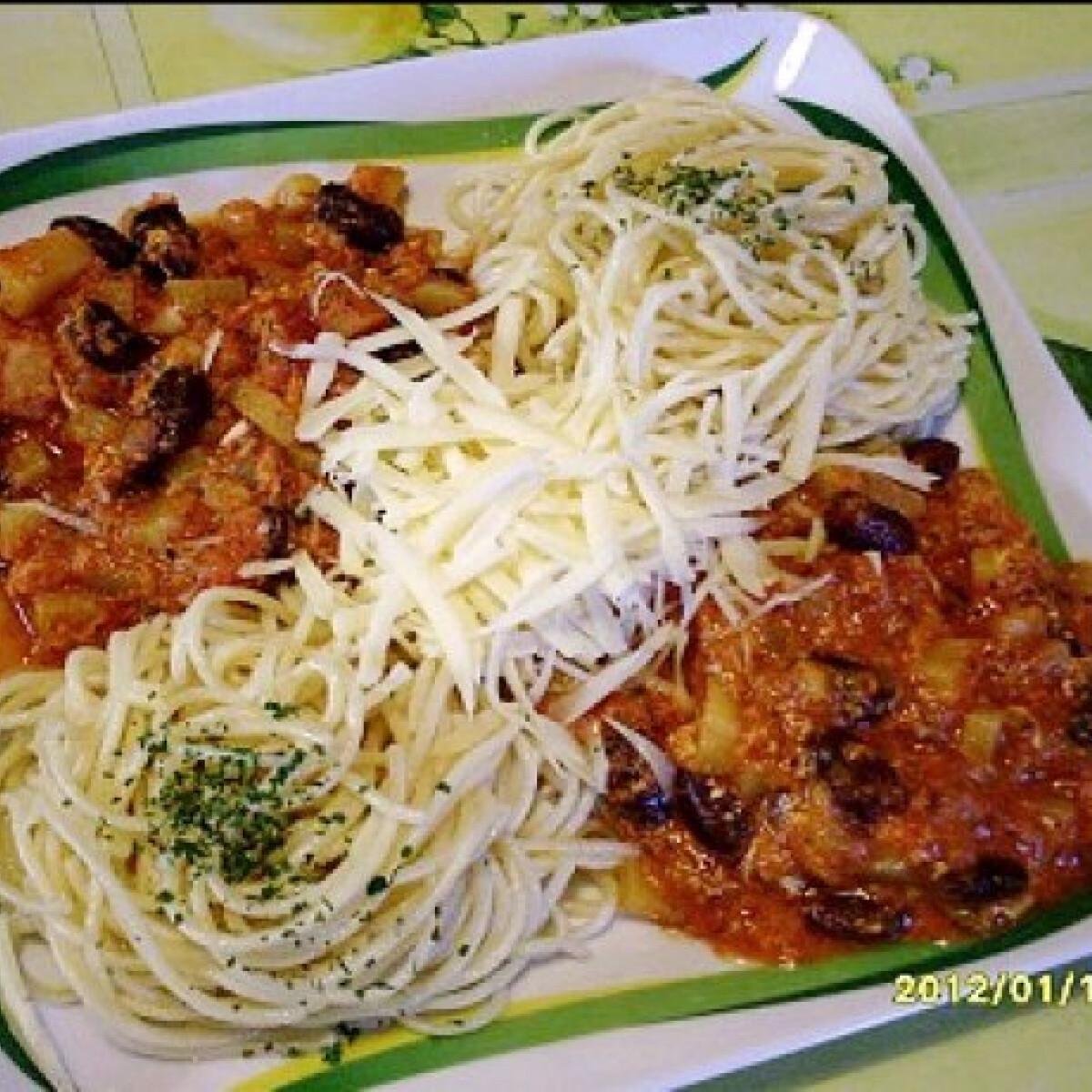 Tojásos-paradicsomos burgonya spagettivel