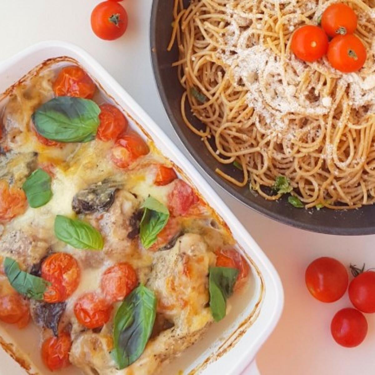 Ezen a képen: Mediterrán tepsis csirke fokhagymás spagettivel