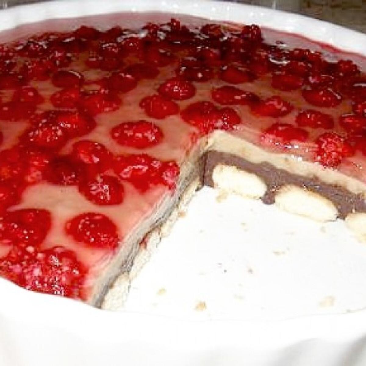 Karamellás-málnás süti sütés nélkül