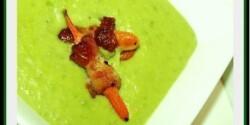 Zöldborsó krémleves baconnal