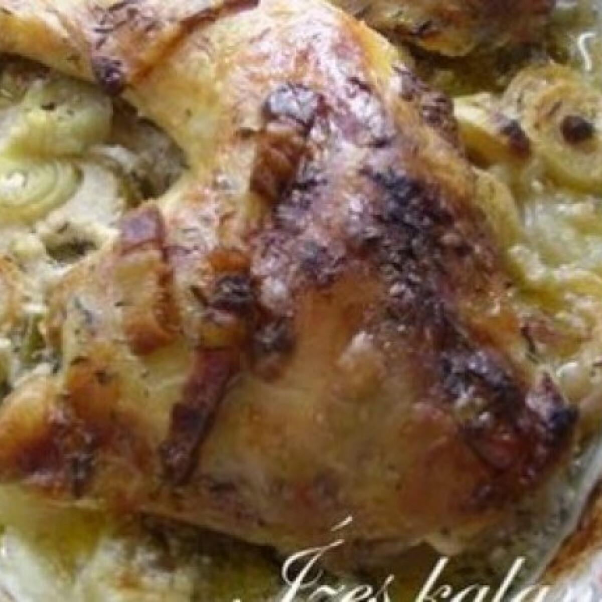 Ezen a képen: Fehérboros csirke hagymaágyon