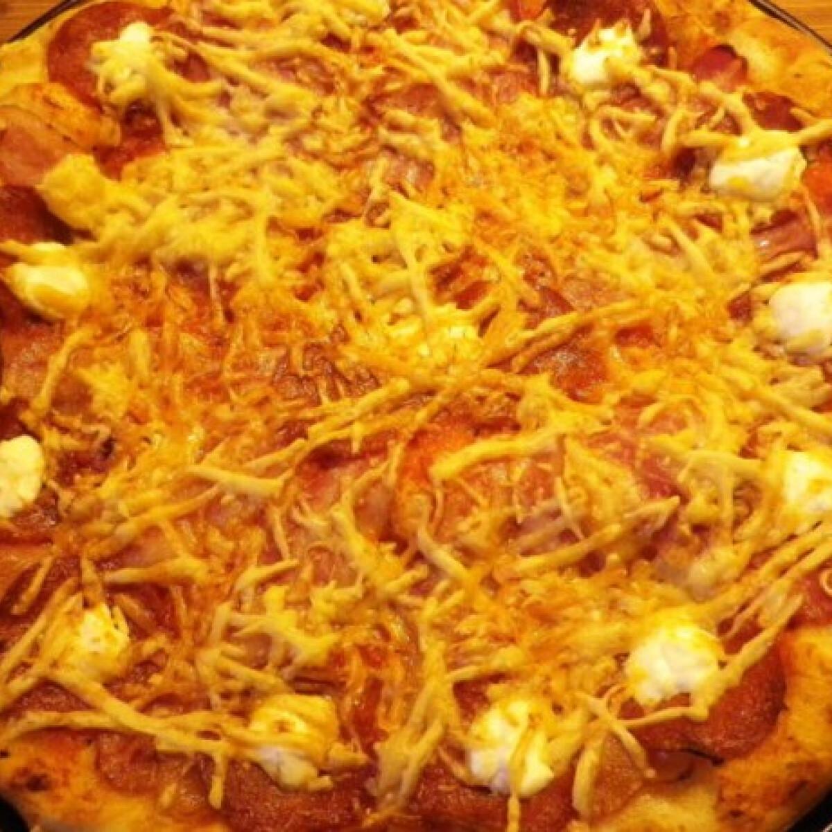 Ezen a képen: Magyaros pizza ahogy Évi néni készíti