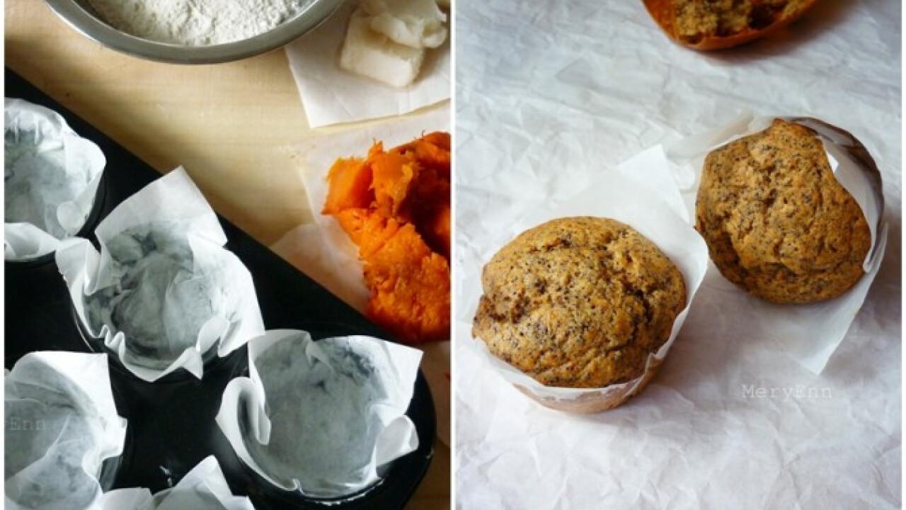 Tökös-mákos muffin fehér piskótából
