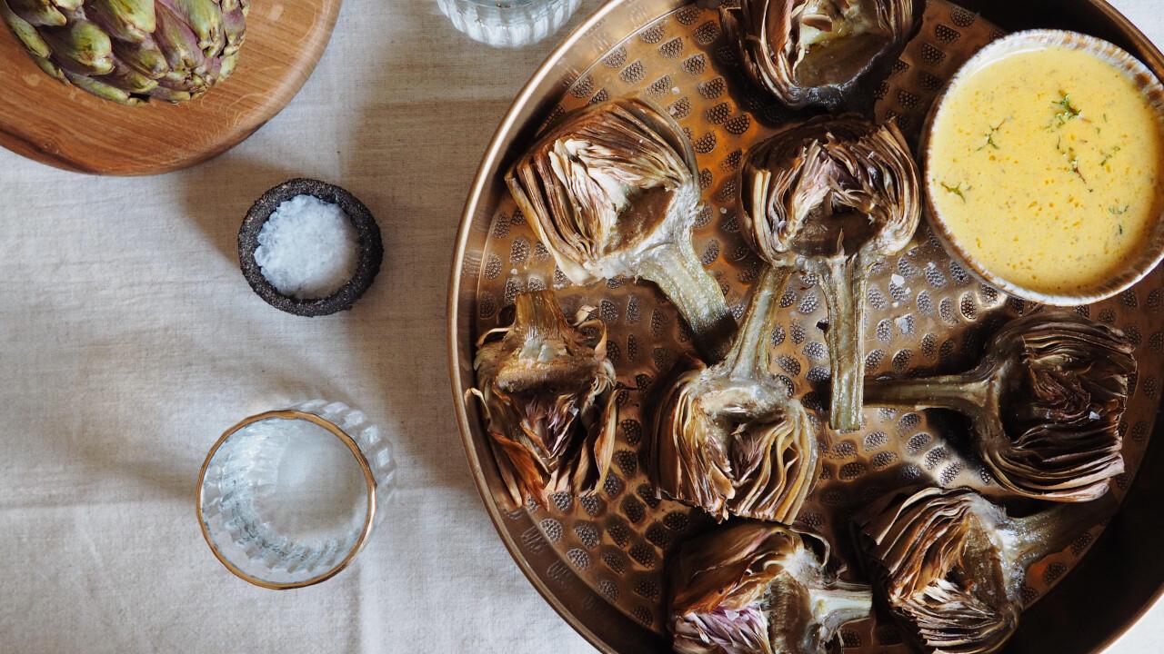 Grillezett articsóka citromos-kakukkfüves aiolival