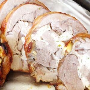 Sült pulykacomb csirke farce-val töltve