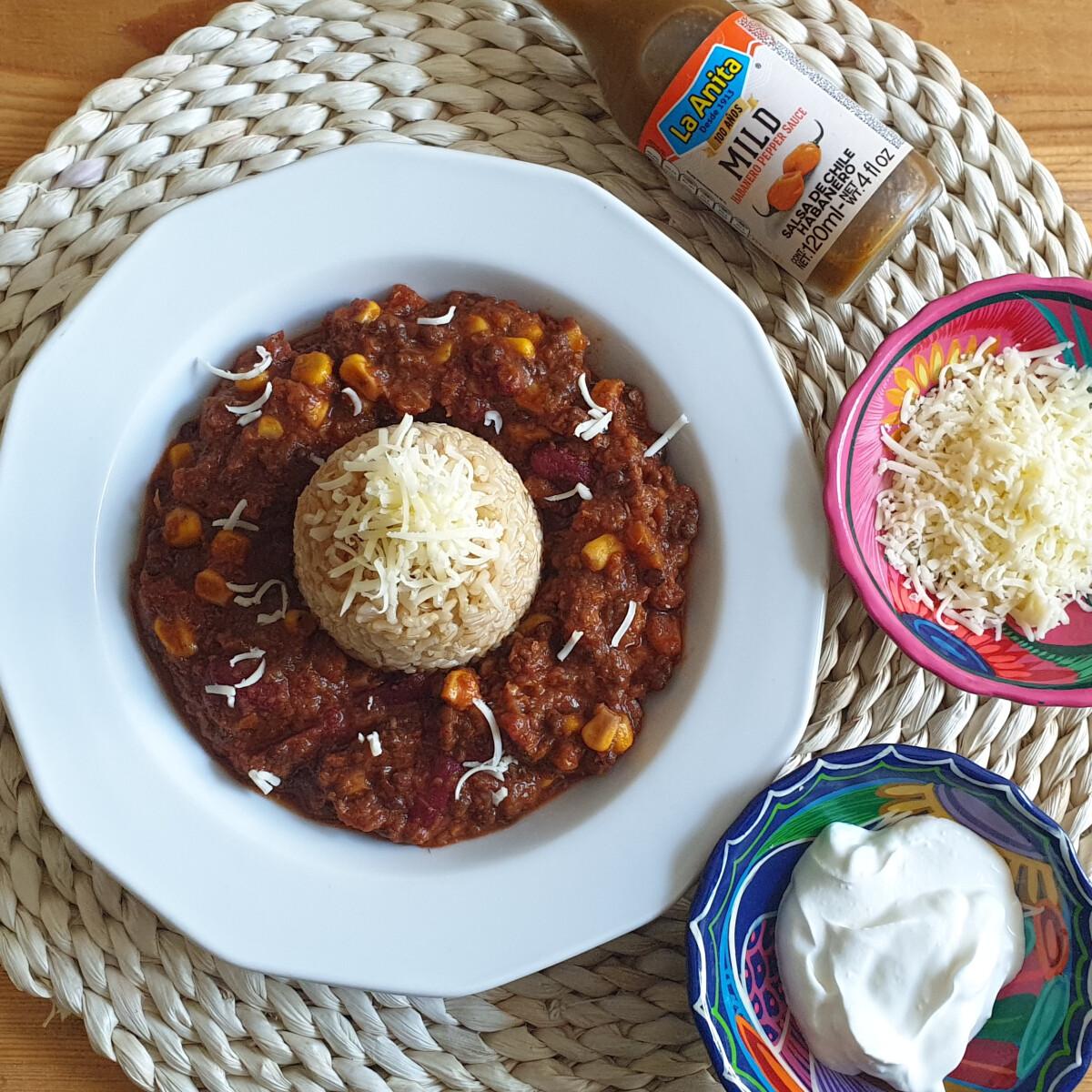 """Ezen a képen: Vegetáriánus Chilli Con Carne, azaz """"Chilli Con Lentejas"""""""