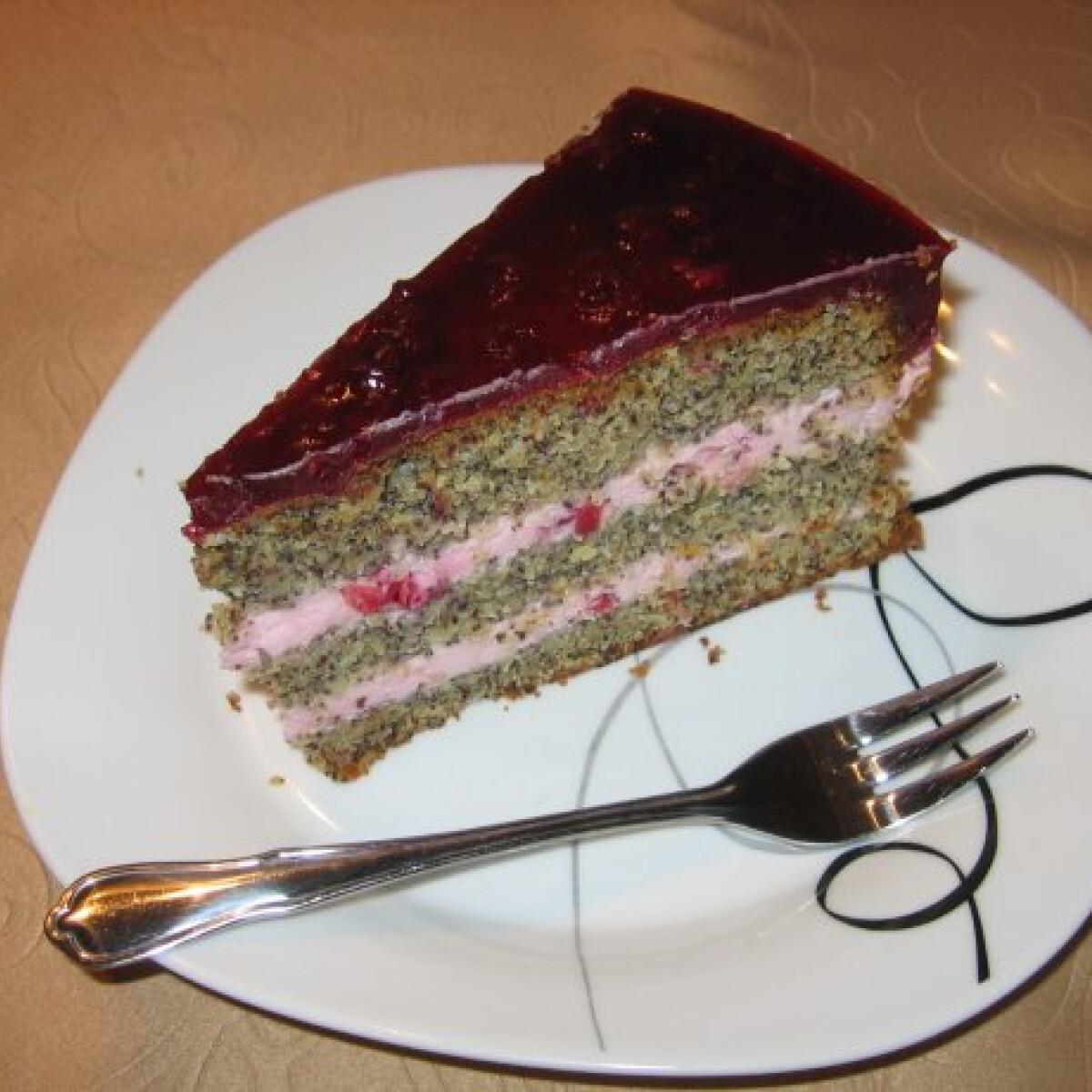 Mákos-vörösáfonyás torta