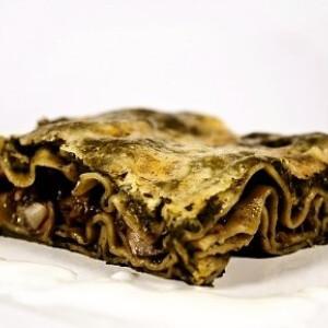 Spenótos gombás lasagne