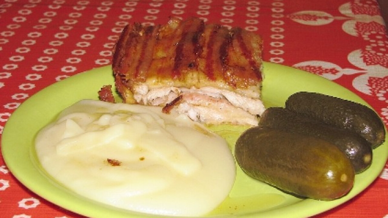 Csíkos hús krumplipürével