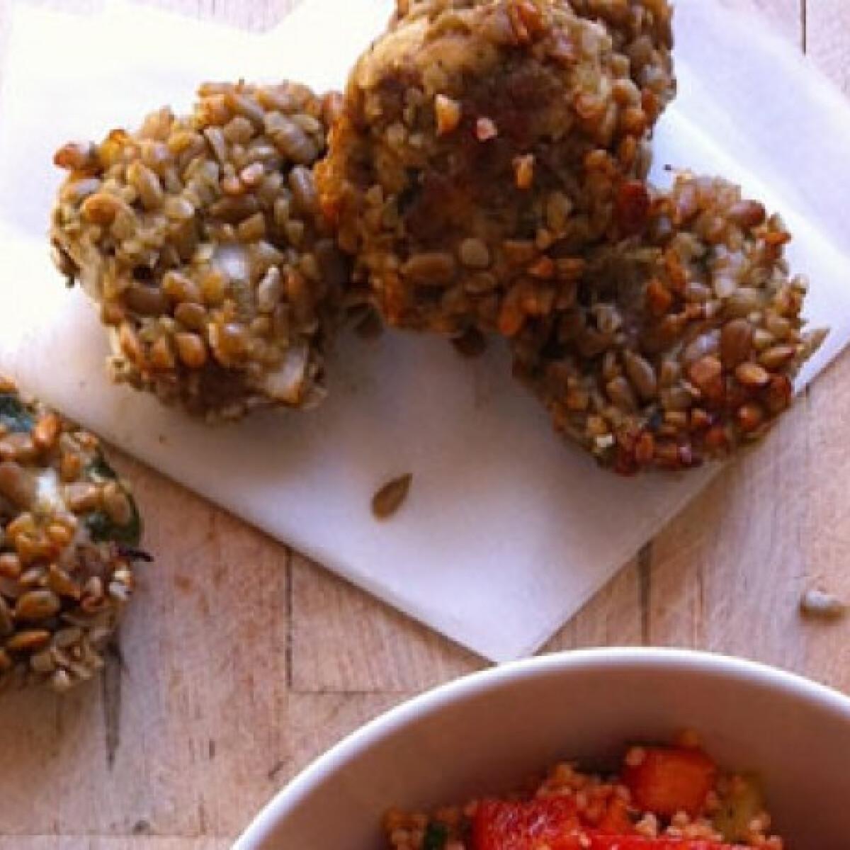 Ezen a képen: Szotyolában sült csirkefasírt