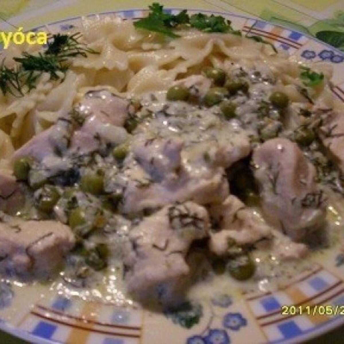 Ezen a képen: Kapros-tejszínes csirkemell 2. - tésztával