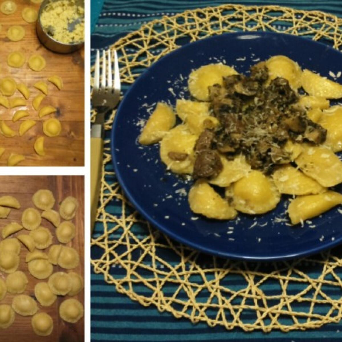 Krumplis tortelli mentás gombaraguval