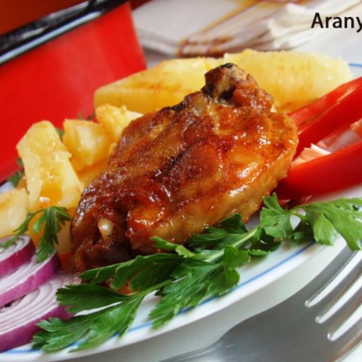 Ezen a képen: Pácolt magyaros sült csirkecomb