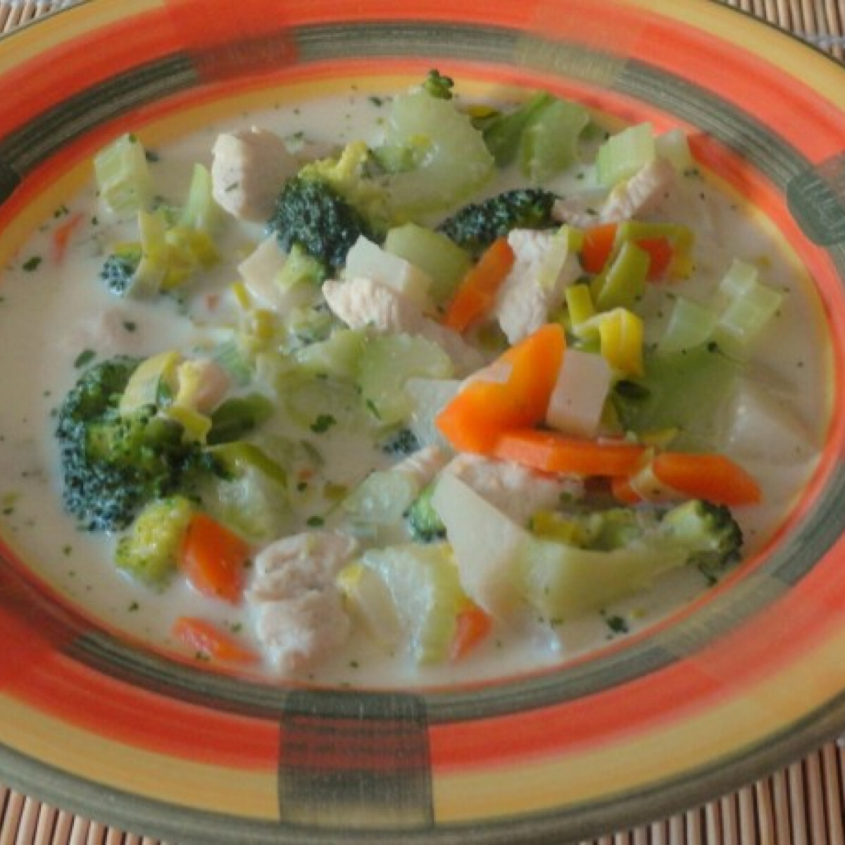 Ezen a képen: Sajtos-csirkés zöldségleves