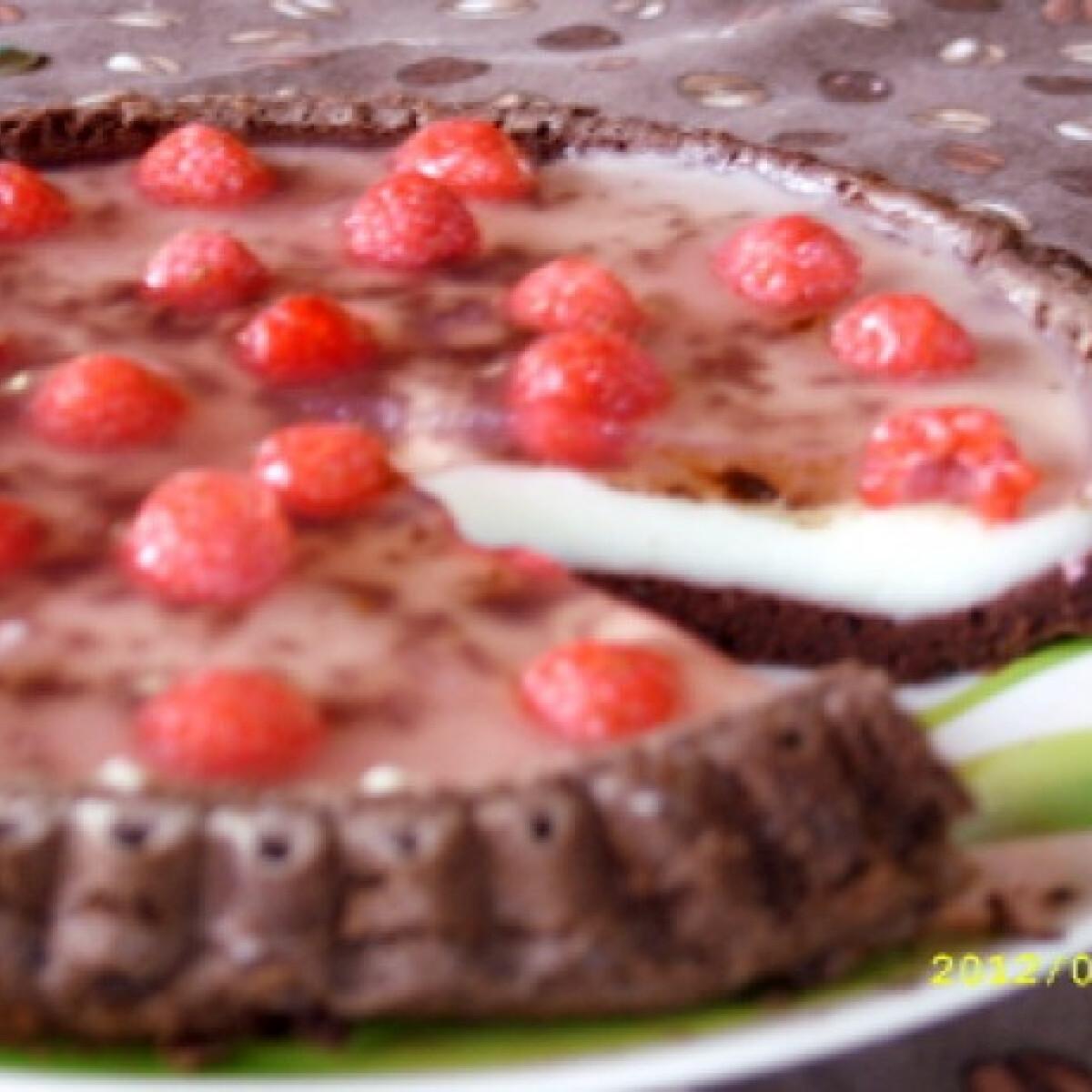 Ezen a képen: Csokis-málnás gyümölcstorta Juccitól