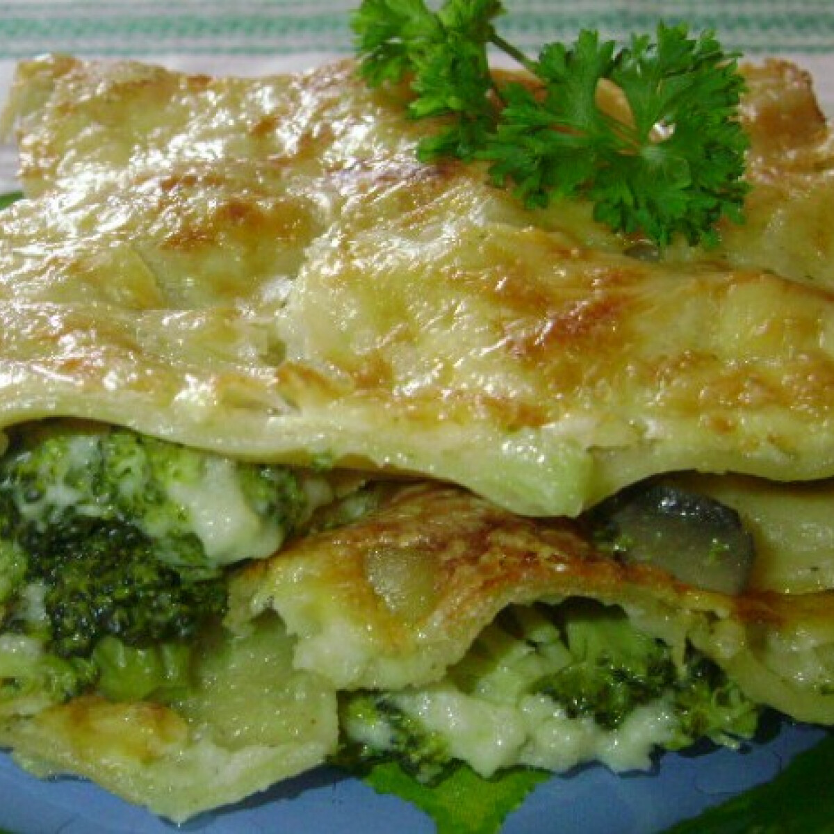 Brokkolis-gombás lasagne