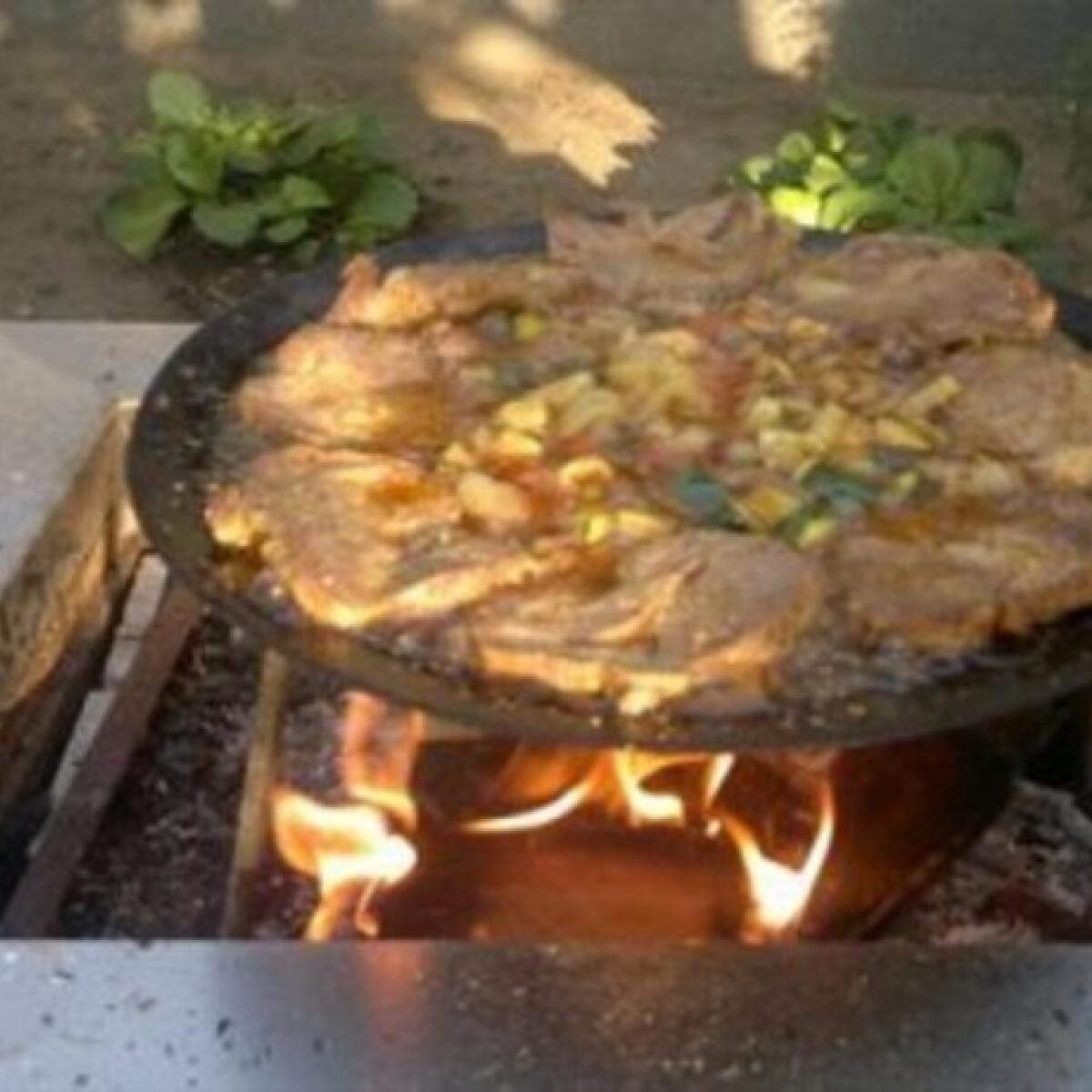 Ezen a képen: Tárcsán sült pácolt húsok zöldségekkel