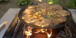 Tárcsán sült pácolt húsok zöldségekkel