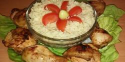 Grillezett csirkecomb párolt rizzsel