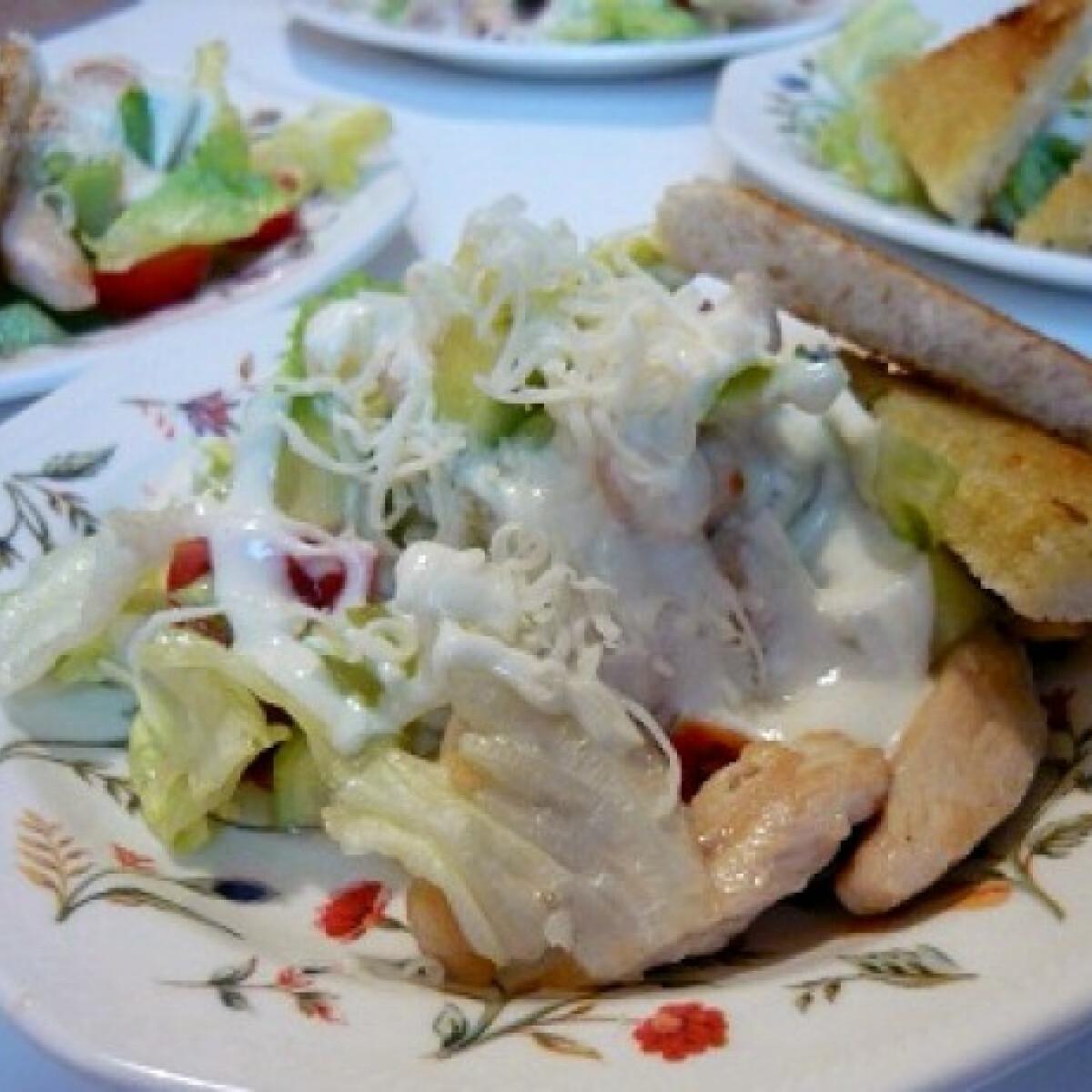 Ezen a képen: Egyszerű csirkesaláta joghurtos öntettel