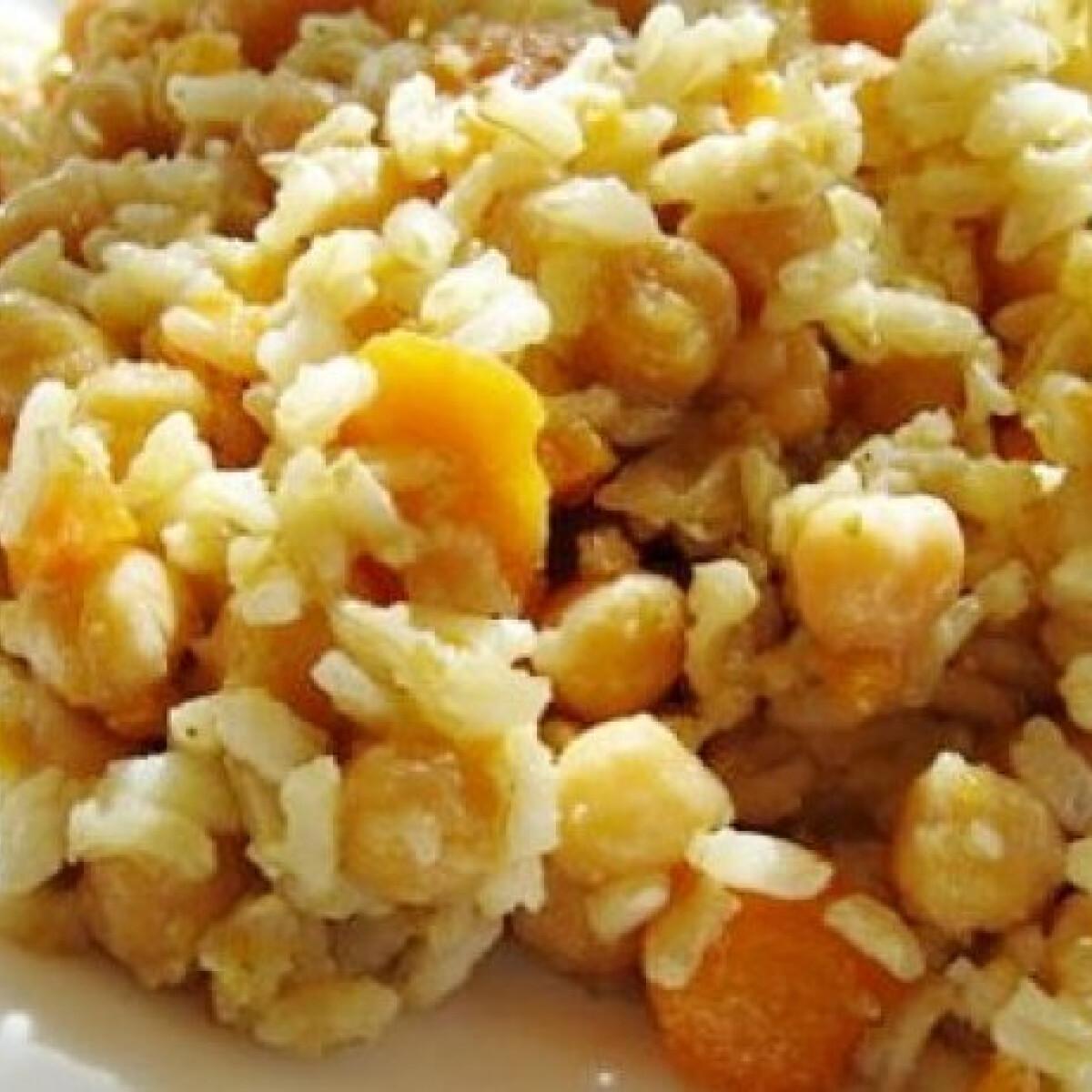 Ezen a képen: Csicseriborsós-zöldséges rizs