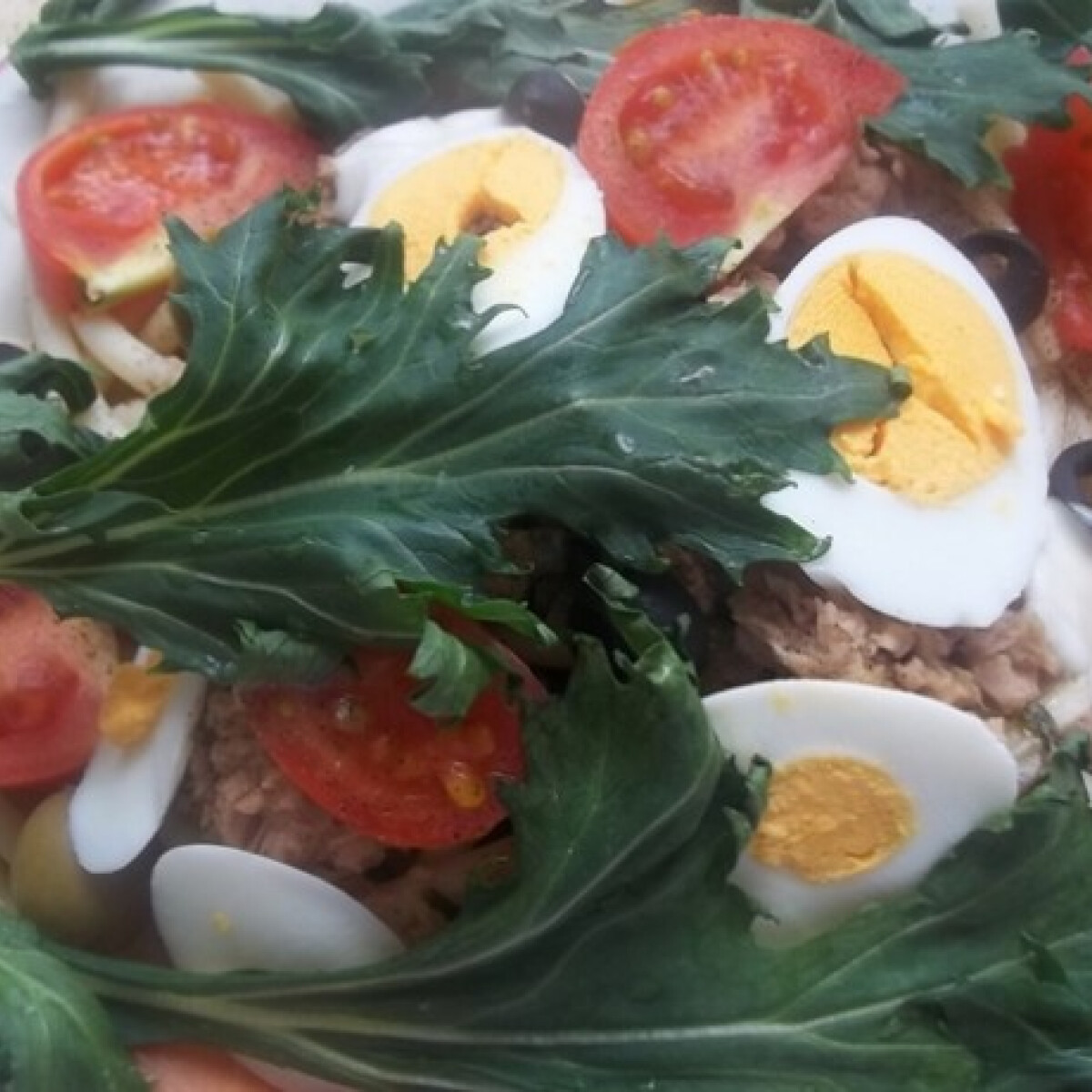 Tonhalas tészta tojással és paradicsommal
