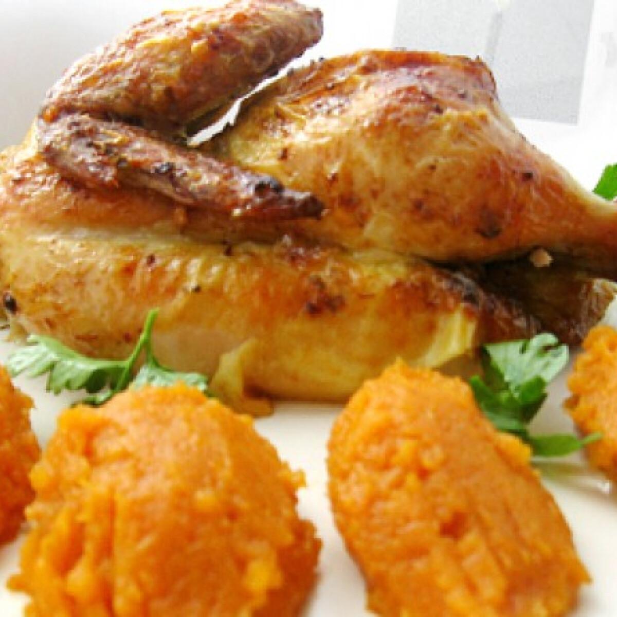 Ezen a képen: Grillezett csirke sárgarépapürével