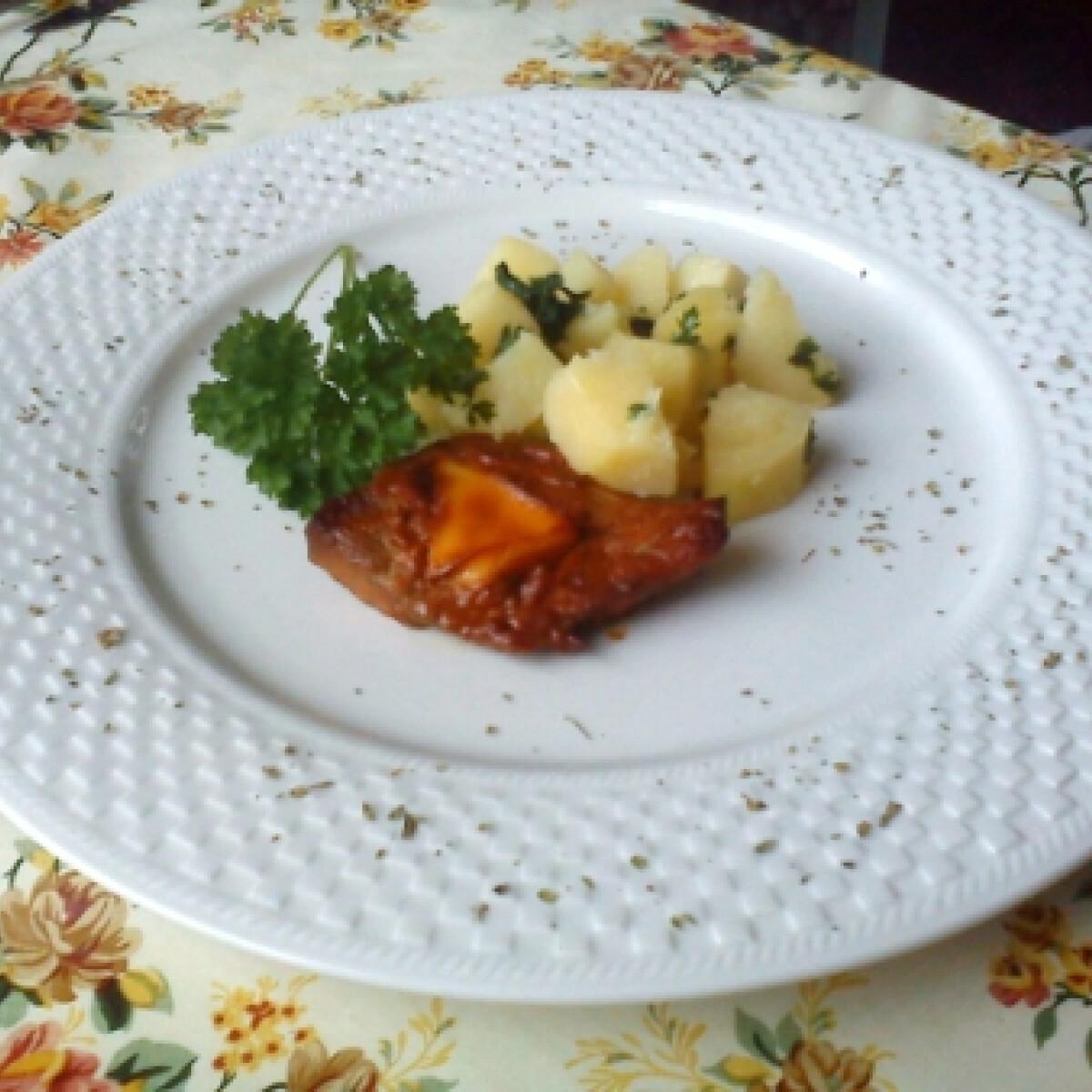 Ezen a képen: Pácolt hús háromszög sajttal