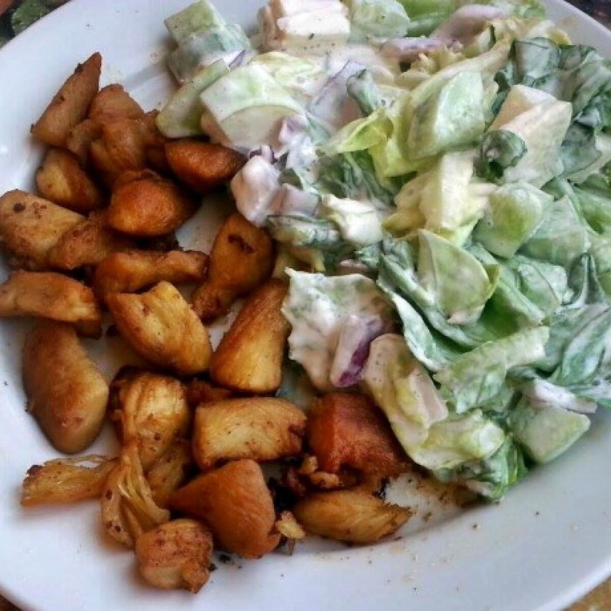 Ezen a képen: Pirított csirkemell salátával