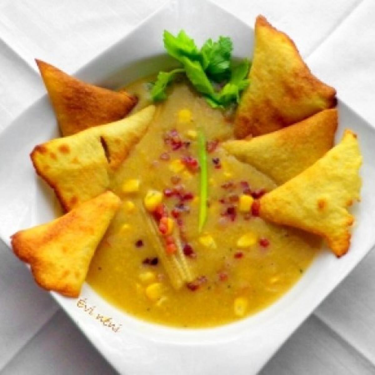 Ezen a képen: Kukoricakrémleves tortillachips-szel
