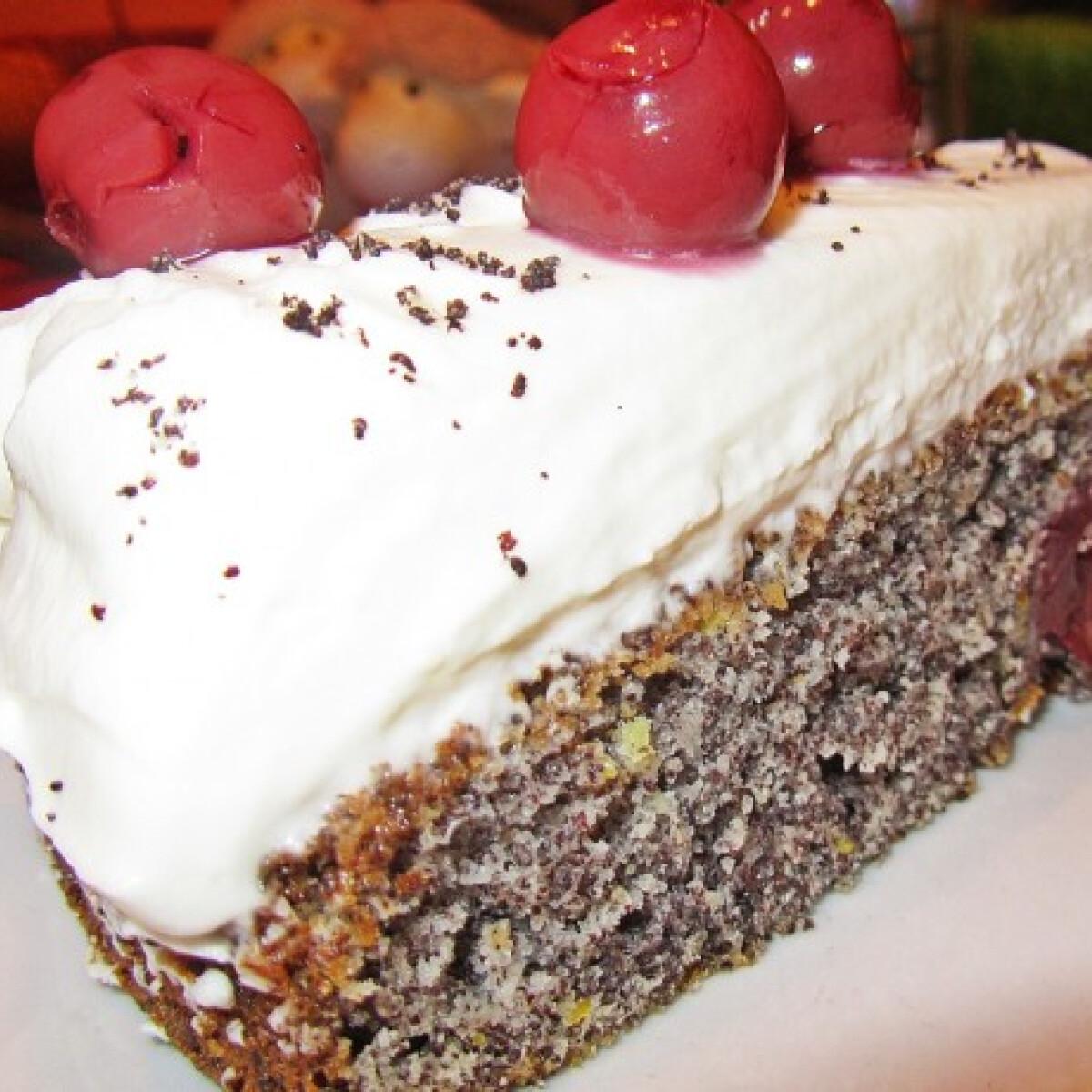 Ezen a képen: Mákos-meggyes süti mascarponekrémmel