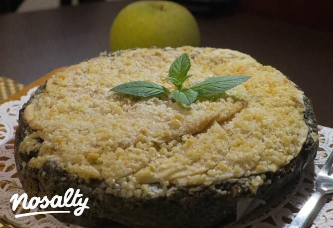 Ezen a képen: Diétás almás-fekete szezámmagos zabpehely torta