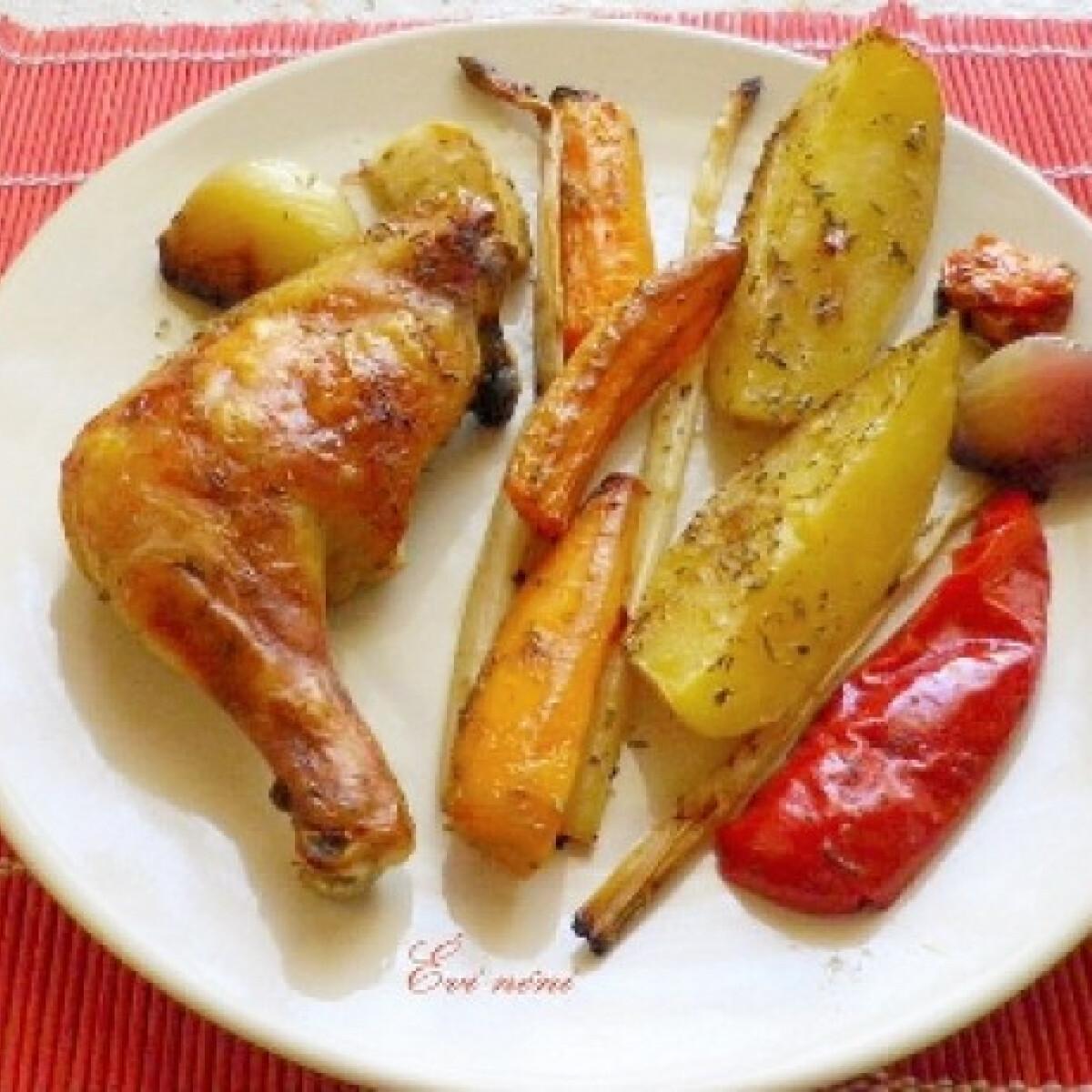 Ezen a képen: Pataki tálban sült csirke zöldségekkel