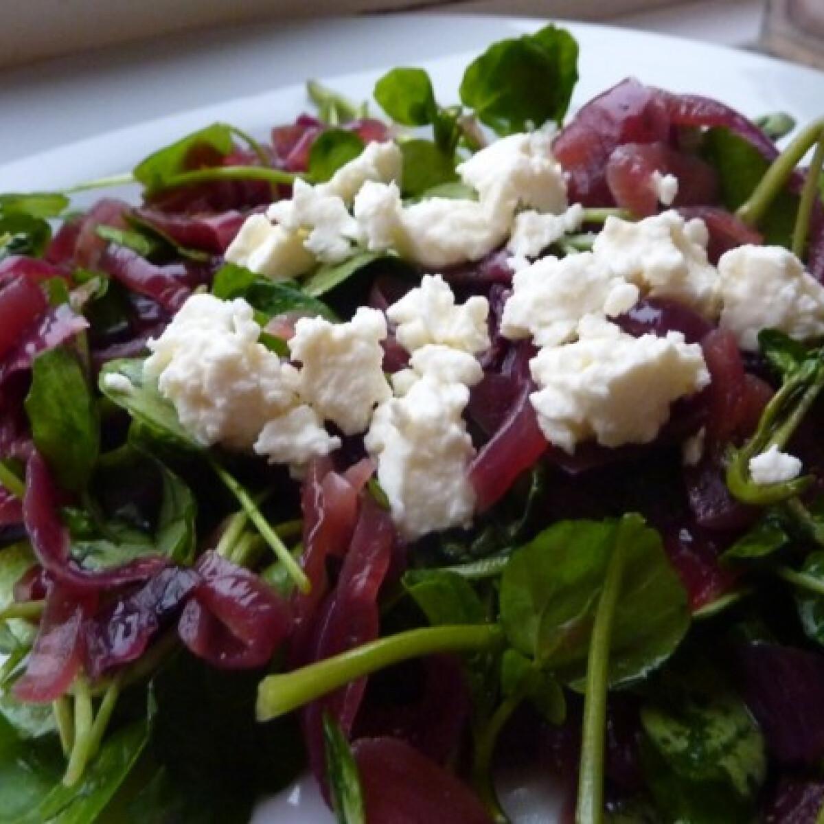 Ezen a képen: Lilahagymás - fetás vízitorma saláta
