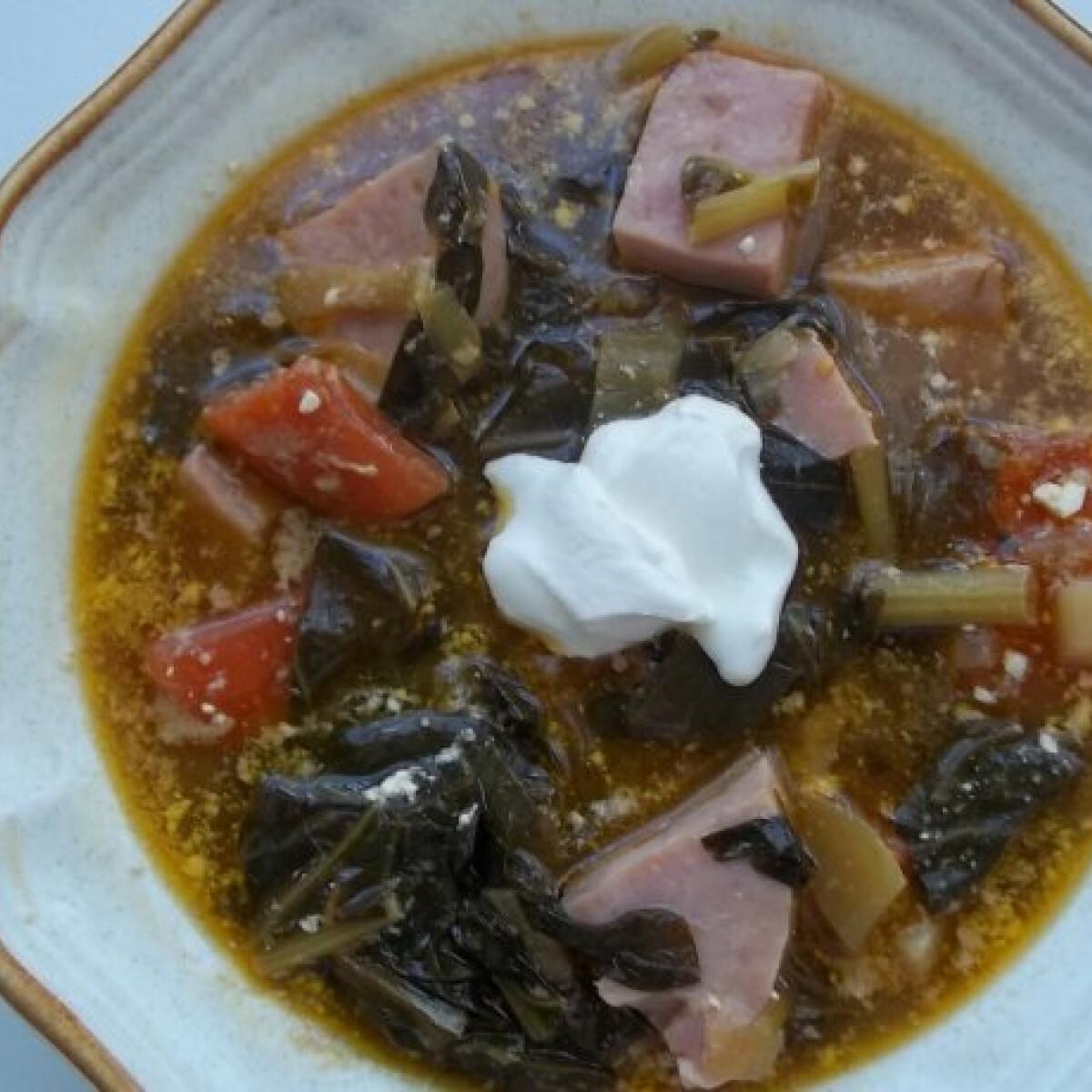 Ezen a képen: Fehérboros karalábélevél-leves sonkával