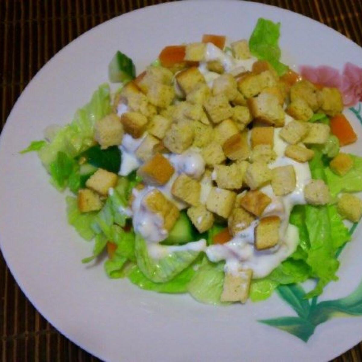 Ezen a képen: Saláta csirkemellel és krutonnal