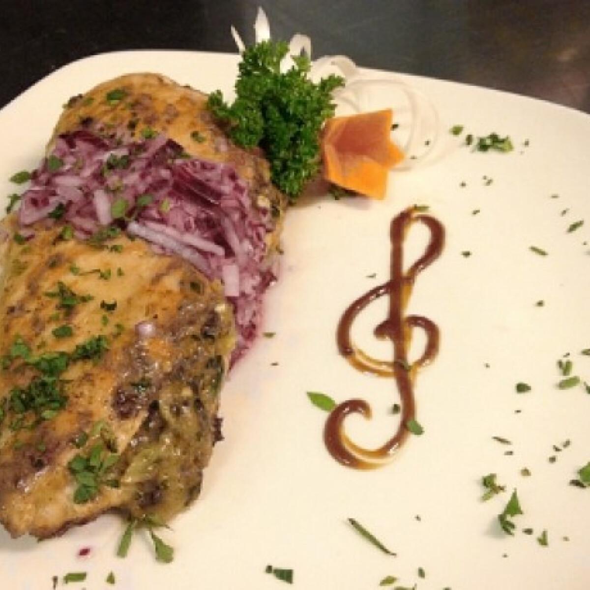 Ezen a képen: Rózsaborsos csirkemell lilahagyma salátával