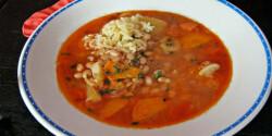 Zöldséges rántott vajbab leves