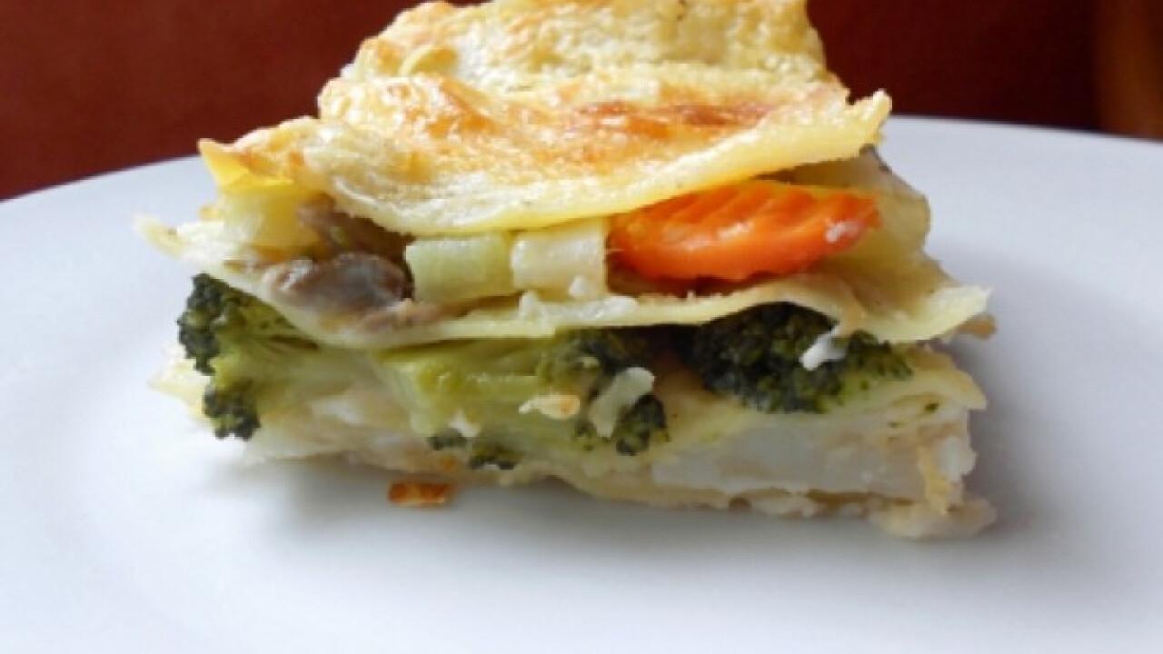 Zöldséges-gombás lasagne