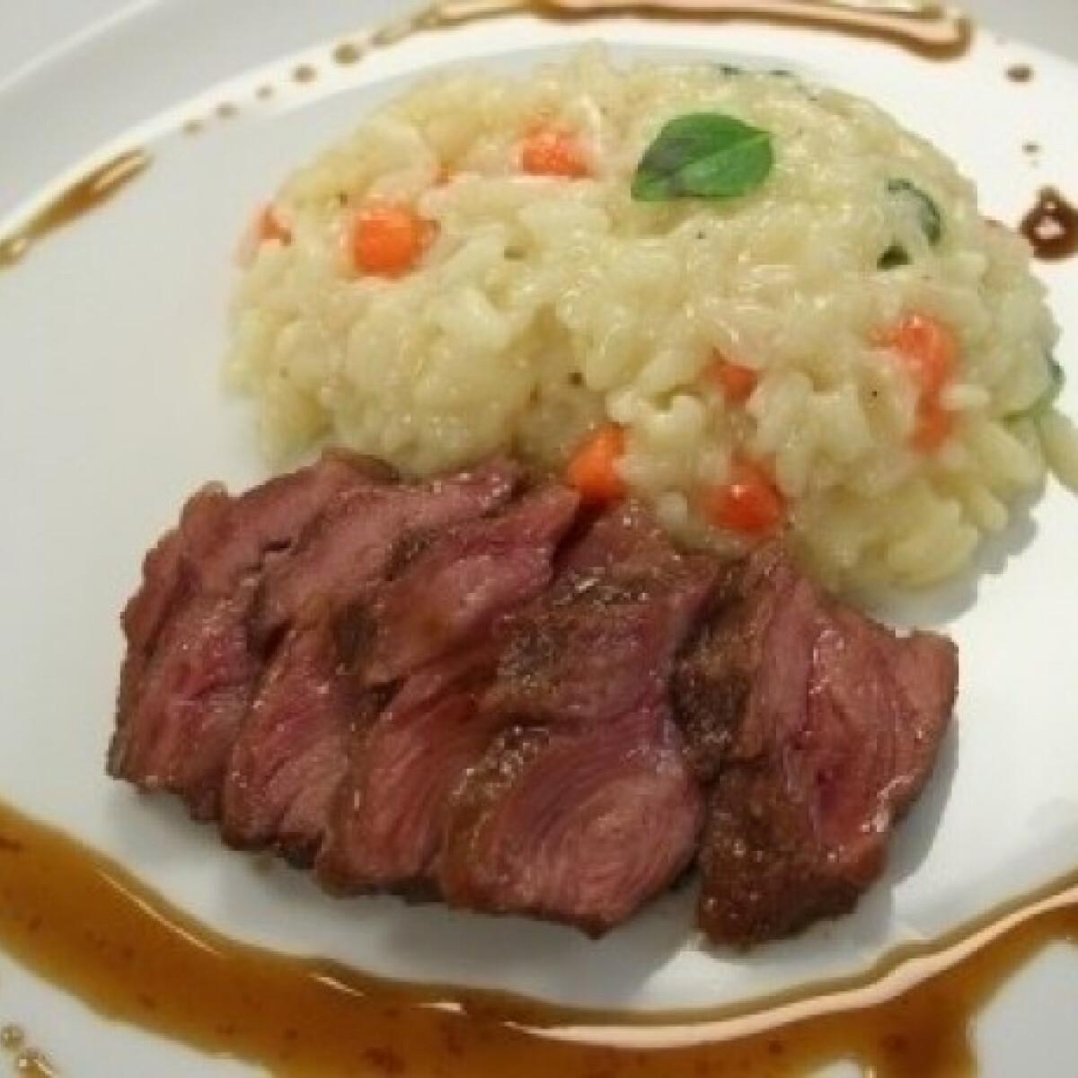 Zöldséges rizottó borjúpofával